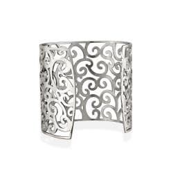 Thumbnail 2, Mondevio Stainless Steel Filigree Design Large Cuff Bangle Bracelet. Changes active main hero.