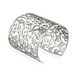 Mondevio Stainless Steel Filigree Design Cuff Bracelet
