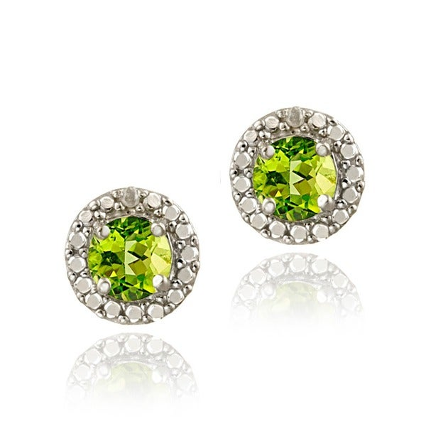 Glitzy Rocks Sterling Silver Peridot and Diamond Button Earrings