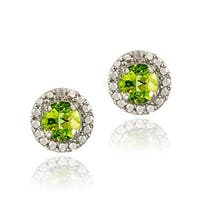 Glitzy Rocks Sterling Silver Peridot and Diamond Button Earrings - Green