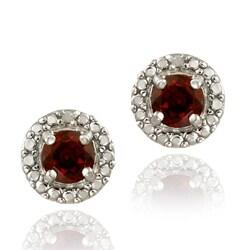 Glitzy Rocks Sterling Silver Garnet and Diamond Button Earrings