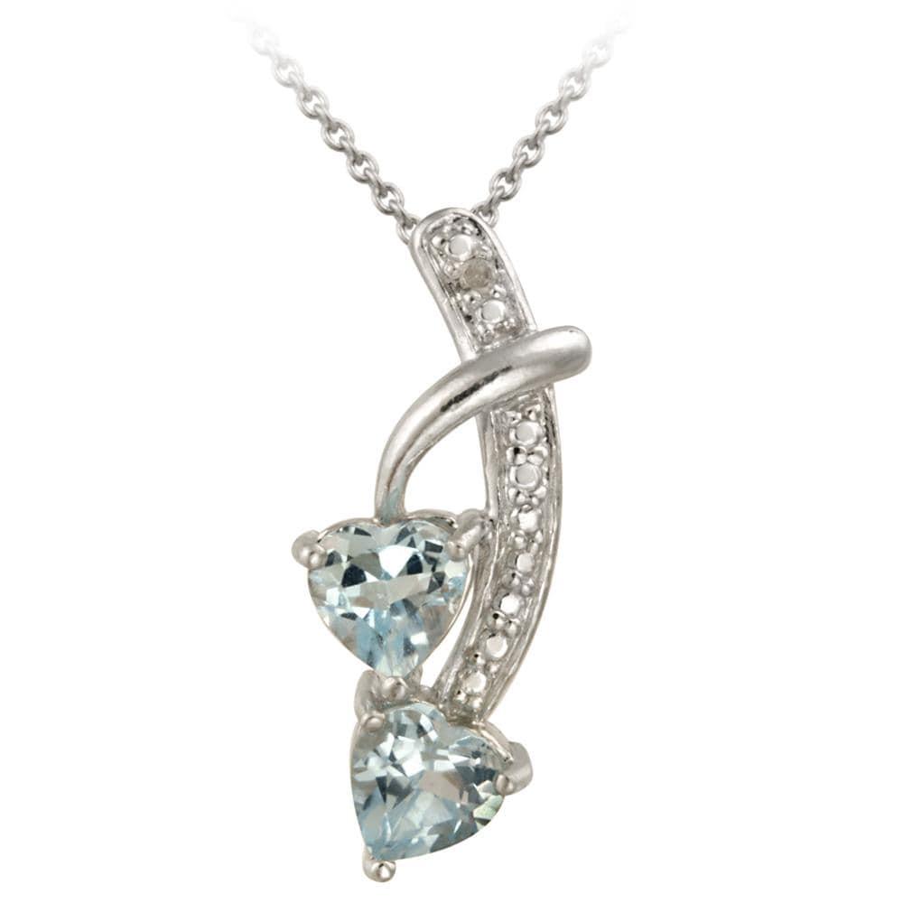 Glitzy Rocks Silver Blue Topaz and Diamond Double Heart Necklace