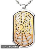 Stainless Steel Bronze Tone Web Dog Tag Necklace