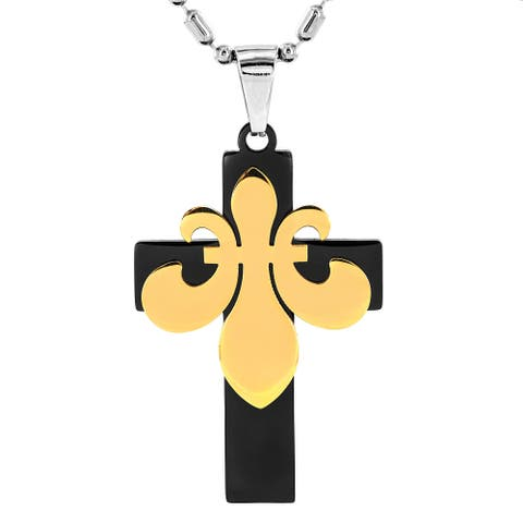 Stainless Steel Goldtone Fleur-de-lis Over Black Cross Necklace