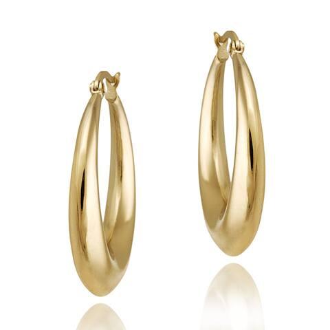 Mondevio Gold over Stainless Steel Circle Hoop Earrings