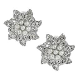 Journee Collection Silvertone Pave-set CZ and Faux Pearl Flower Earrings