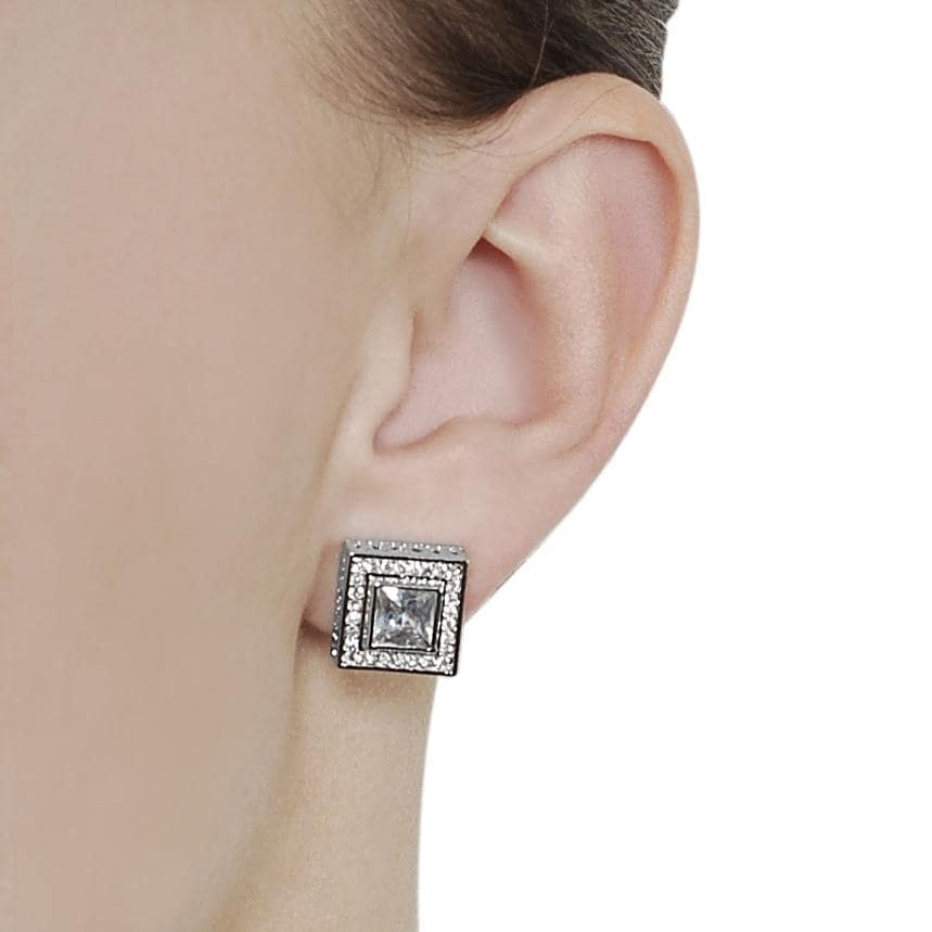 Journee Collection Silvertone Pave-set and Princess-cut CZ Stud Earrings - Thumbnail 2