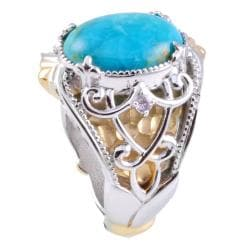 Michael Valitutti Two-tone Turquoise and White Sapphire Ring - Thumbnail 1
