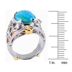Michael Valitutti Two-tone Turquoise and White Sapphire Ring - Thumbnail 2