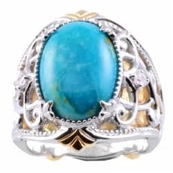 Michael Valitutti Two-tone Turquoise and White Sapphire Ring
