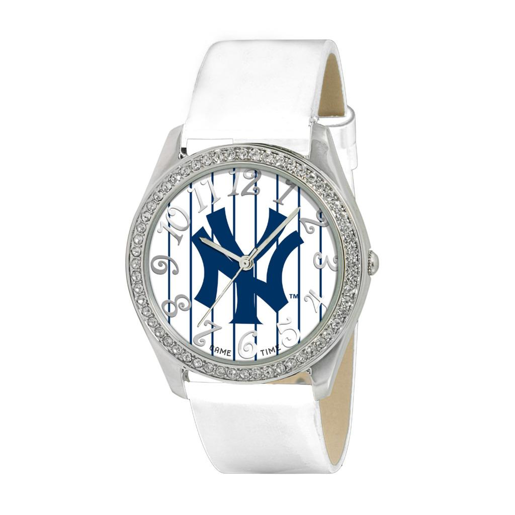 New York Yankees Women's Glitz Classic Analog Patent Leather Watch - Thumbnail 0