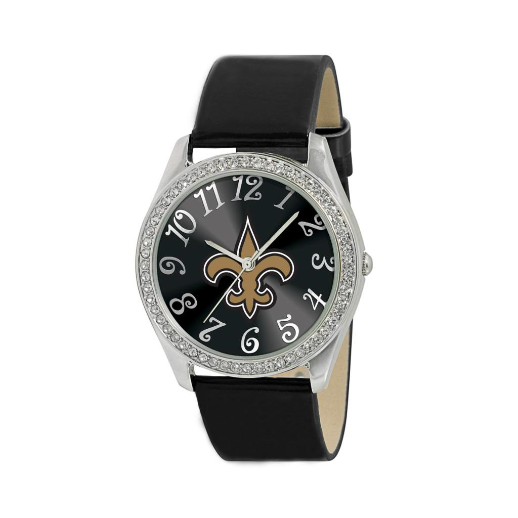 Game Time New Orleans Saints Women's Glitz Classic Analog Patent Leather Watch
