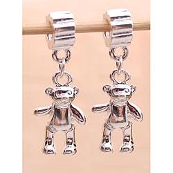Silverplated Teddy Bear Dangle Charm Beads (Set of 2)