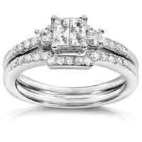 Annello by Kobelli 14k White Gold 1/2ct TDW Diamond Bridal Ring Set