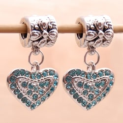 Silverplated Lt. Blue Crystal Heart Charm Beads (Set of 2)