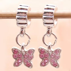 Silverplated Pink Crystal Butterfly Charm Beads (Set of 2)