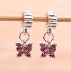 Silverplated Pink Rhinestone Butterfly Charm Beads (Set of 2)