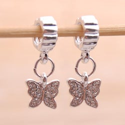 Handmade Silvertone Clear Rhinestone Butterfly Charm Beads (Set of 2) (United States)