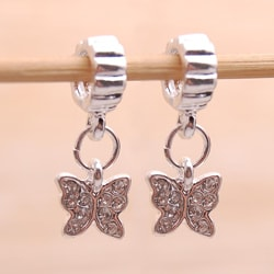 Silvertone Clear Rhinestone Butterfly Charm Beads (Set of 2)