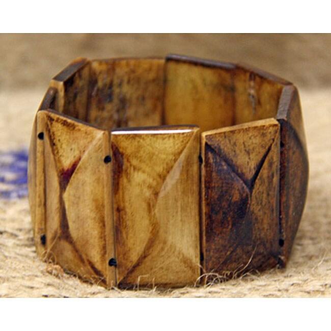 Cow Bone Rectangle Stretch Bracelet (Kenya)