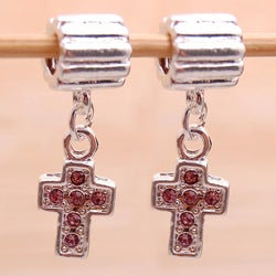 Handmade Silverplated Pink Rhinestone Cross Charm Beads (Set of 2) (United States)