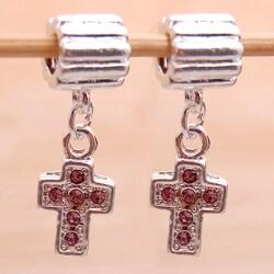 Handmade Silverplated Pink Rhinestone Cross Charm Beads (Set of 2) (United States)