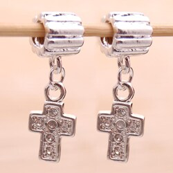 Handmade Silverplated Clear Rhinestone Cross Charm Beads (Set of 2) (United States)