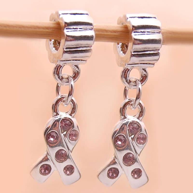 Silverplated Pink Rhinestone Ribbon Charm Beads (Set of 2)