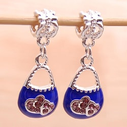 Silvertone Blue Enamel/ Purple Crystal Purse Charms (Set of 2)