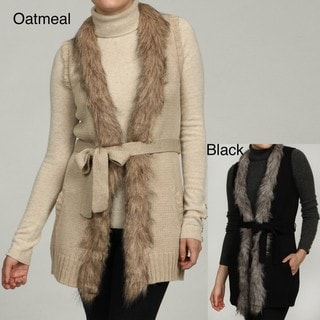 RXB Women's Faux Fur Trim Vest Sweater