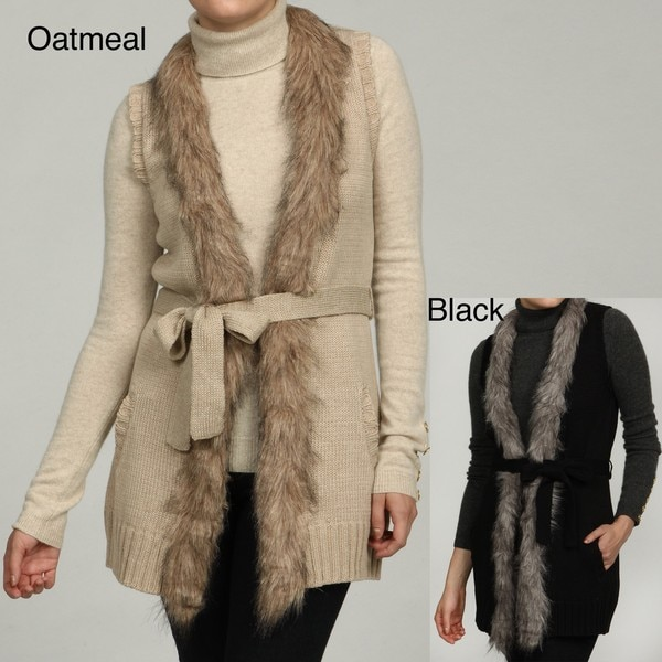 RXB Women's Faux Fur Trim Vest Sweater