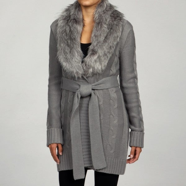 RXB Women's Grey Faux Fur Trim Knit Sweater