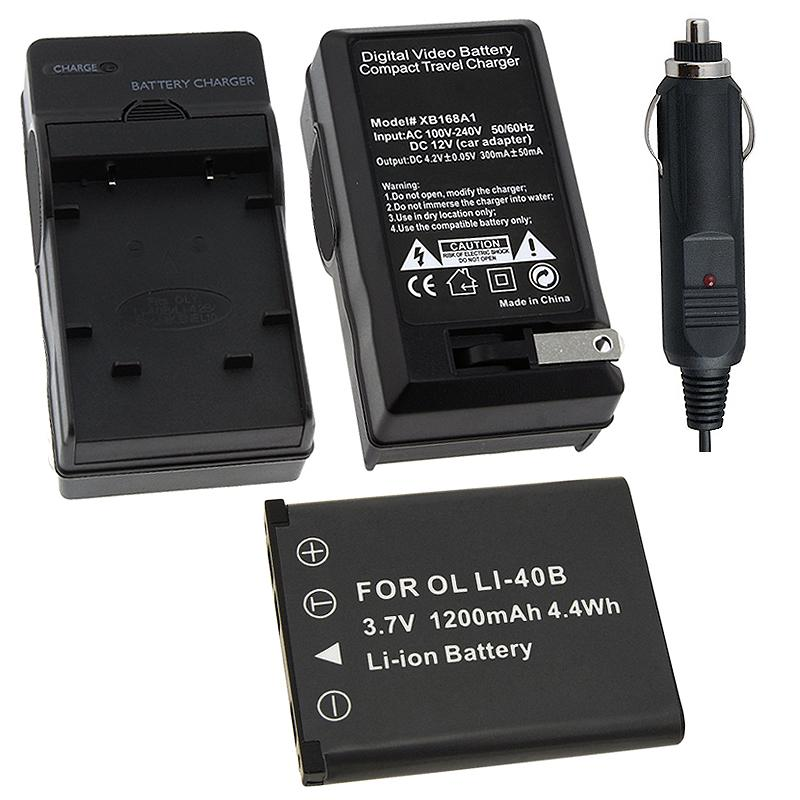 INSTEN Battery and Charger for Olympus Li-40B/ Fuji NP-45