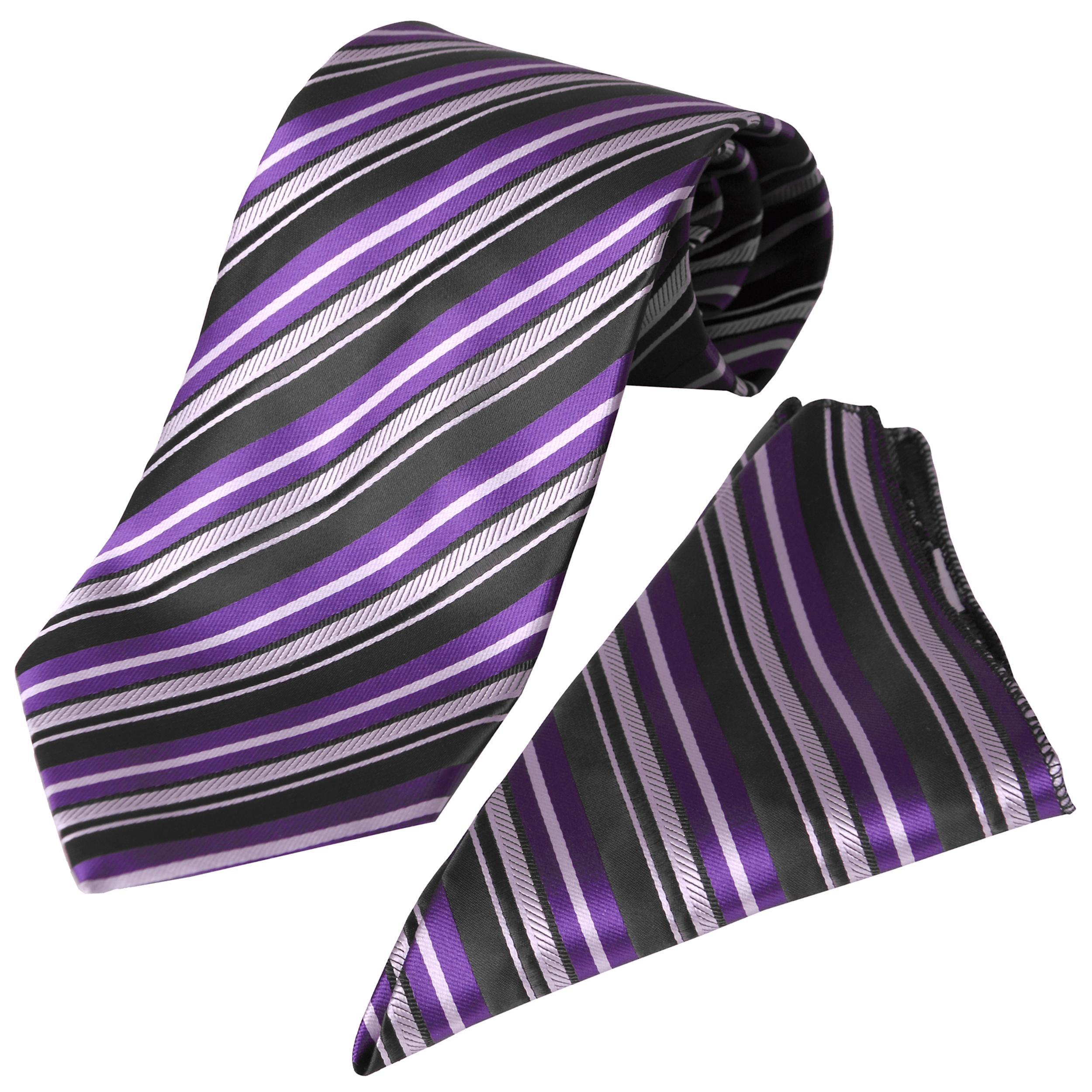 Boston Traveler Men's Purple Striped Tie Hanky Set