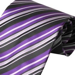 Boston Traveler Men's Purple Striped Tie Hanky Set - Thumbnail 2