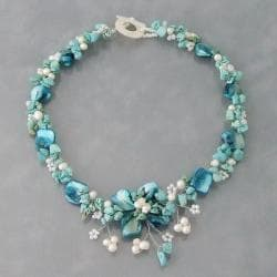 Handmade Reconstructed Turquoise, MOP and Pearl Hidden Floral Necklace (4-8 mm)