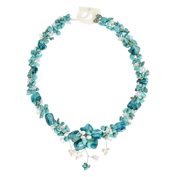 Beautiful Blue Turquoise Bead Shell Floral Inspired Statement Necklace