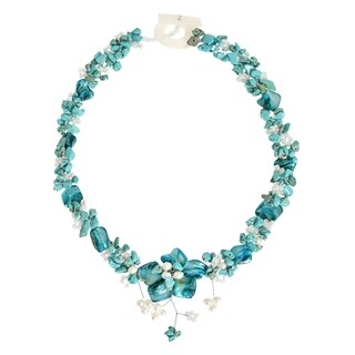 Handmade Beautiful Blue Turquoise Bead Shell Floral Inspired Statement Necklace (Philippines)