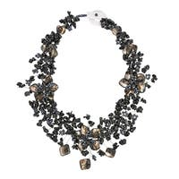 Handmade Triple Mother of Pearl/ Onyx Flower Statement Necklace (Philippines)
