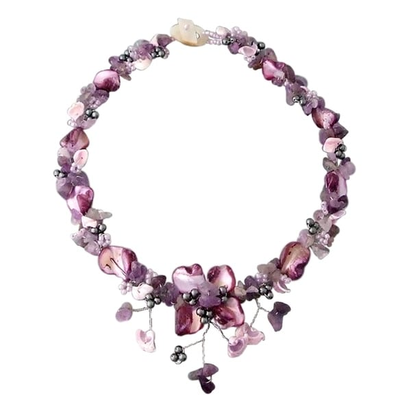 Handmade Purple Amethyst&Shells Hidden Floral Toggle Necklace (Philippines)