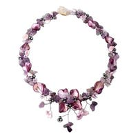 Handmade Purple Amethyst&Shells Hidden Floral Toggle Necklace (Thailand)