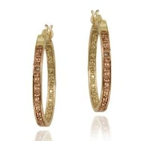 Db Designs 18k Two Tone Gold Over Silver Champagne Diamond Accent Hoop Earrings