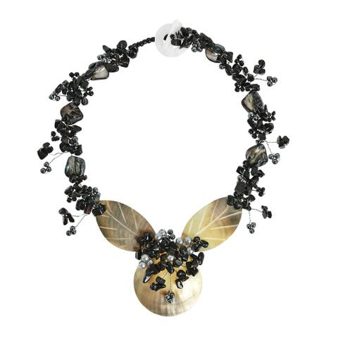 Handmade Golden Hue Medallion & Black Onyx and Shell Statement Necklace (Thailand)
