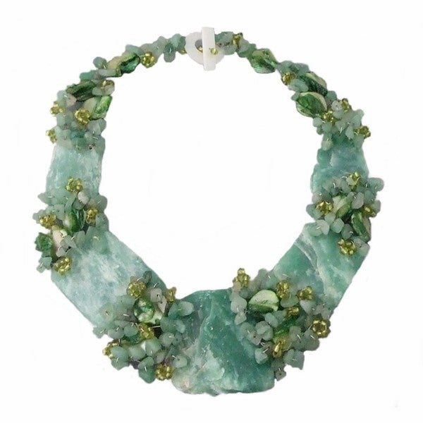Handmade Chunky Jade and Mother of Pearl Link Necklace (Philippines)