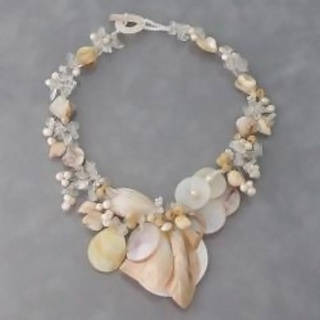 Handmade Natural Sea Shells, Quartz and Pearls Necklace (5-9 mm) (Philippines)