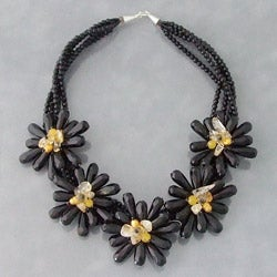 Onyx/ Citrine/ Pearl Flower Wrap Necklace (6-8 mm) (Thailand)