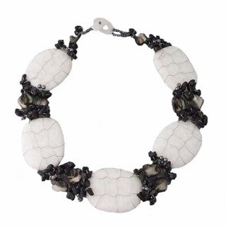 Onyx, Sea Shells and Crystal Granite Necklace (Philippines)