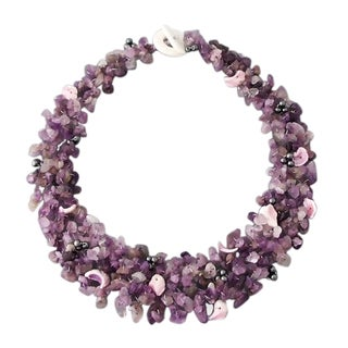 Handmade Collared Amethyst & Quartz Stones Toggle Necklace (Philippines)