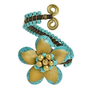 Handmade Brass Leaf Nature's Love Howlite or Turquoise Floral Jingle Cuff (Thailand)