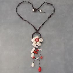 Handmade Cotton Love of Flower Red Coral/ Howlite Dangle Necklace (Thailand)